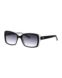 Thierry Mugler Two Tone Oversized Square Sunglasses Black White