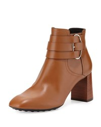 Tod's Leather Buckle Strap Ankle Boot Cognac