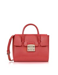 Furla Ruby Red Grained Leather Metropolis Small Satchel