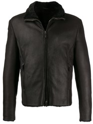 Giorgio Armani Shearling Lined Jacket Brown