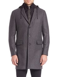 The Kooples Cashmere Wool Coat With Removable Flannel Waistcoat And Hood Grey