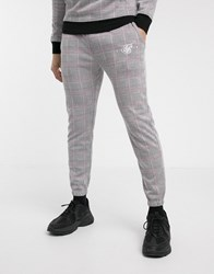 Sik Silk Siksilk Check Joggers In Grey And Pink Check