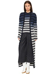 Maison Martin Margiela Striped Cotton Rib Knit Long Cardigan