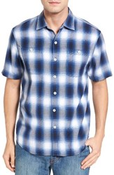 Tommy Bahama Men's Plaid For You Standard Fit Camp Shirt Ocean Deep