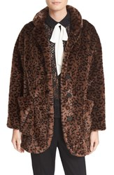 The Kooples Women's Leopard Print Faux Fur Coat