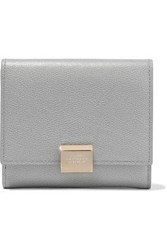 Smythson Woman Grosvenor Textured Leather Wallet Gray