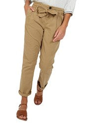 Fat Face Tie Waist Tapered Trousers Desert