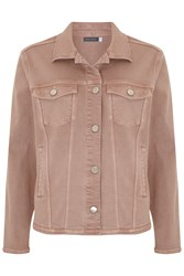 Mint Velvet Nude Frayed Hem Denim Jacket Neutral