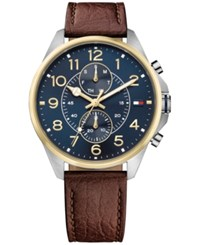 Tommy Hilfiger Women's Chronograph Casual Sport Brown Leather Strap Watch 46Mm 1791275 Blue Brown