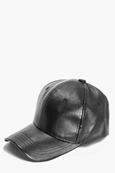 Boohoo Leather Look Baseball Cap Black