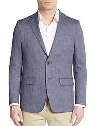 Hickey Freeman Ribbed Slub Linen And Cotton Blazer Navy White
