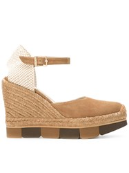 Paloma Barcelo Espadrille Wedges Nude Neutrals
