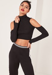 Missguided Black Jumbo Ribbed Cut Out Detail Sleeve Crop Top