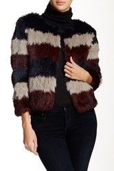 Pam And Gela Genuine Dyed Rabbit Fur Cropped Jacket Multi