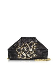 Ghibli Black Python Shoulder Bag W Crystals