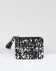 Asos Metallic Foil Splash Coin Purse With Tassel Multi