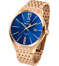 Tw Steel Tw1309 Slim Line Rose Gold Plated Stainless Watch Stainless Steel