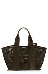 Pedro Garcia 'Castoro' Perforated Suede Tote Green Olive