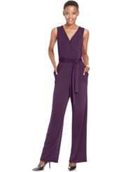 Ny Collection Petite Surplice Belted Wide Leg Jumpsuit Warm Plum