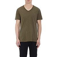 Vince. Men's Slub V Neck T Shirt Dark Green