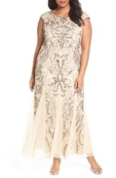 Pisarro Nights Plus Size Women's Beaded Gown Champagne