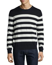 Burberry Seaborne Striped Cashmere Cotton Sweater Navy