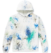 Sasquatchfabrix. Paint Splattered Fleece Back Cotton Blend Jersey Sweatshirt White