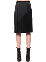 Marco De Vincenzo Fringed Pleated Cady Midi Skirt Black