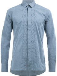Lanvin Pleated Crease Casual Shirt Blue