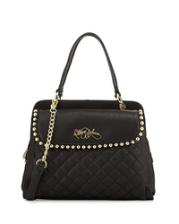 Betsey Johnson Small Satchel With Ball Stud Trim Black
