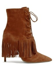 Aquazzura Mustang 105 Fringed Suede Ankle Boots Tan
