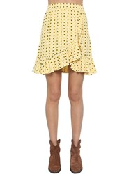 Ganni Printed Crepe Mini Skirt W Ruffle Trim Yellow