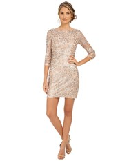 Aidan Mattox Long Sleeve Embroidered Feather Pattern Cocktail Dress Champagne Women's Dress Gold