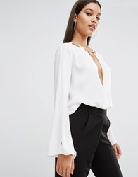 Tfnc Wrap Front Blouse With Gold Trim White