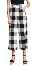 Paul Smith Wide Leg Cropped Check Trousers Black Off White