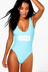Boohoo Scoop Neck Slogan Swimsuit Aqua