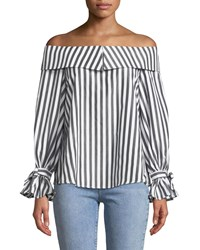 Stylekeepers Turn Heads Striped Off The Shoulder Top Gray White
