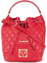 Love Moschino Quilted Drawstring Crossbody Bag Red
