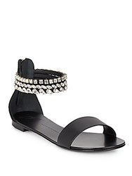 Giuseppe Zanotti Beaded Leather Open Toe Sandals Black
