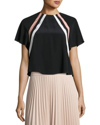 Red Valentino Raglan Sleeve Striped Silk Crop Top Nero Cipria Panna Nero Cipria Pann