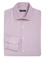Saks Fifth Avenue Classic Fit Bengal Stripe Dress Shirt Purple Light Blue Yellow