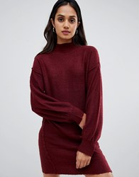 Brave Soul Hudson High Neck Jumper Dress With Balloon Sleeves Red