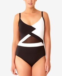 Anne Cole Plus Size Hot Mesh One Piece Swimsuit Women's Swimsuit Black White