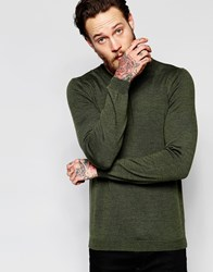 Asos Merino Wool Crew Neck Jumper In Khaki Khaki Green