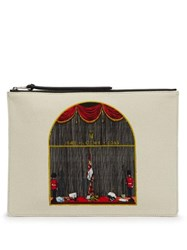 Loewe Queen's Guard Print Canvas And Leather Pouch Beige Multi