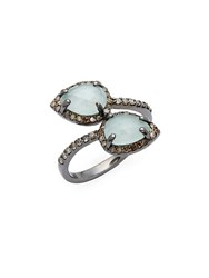 Bavna Champagne Diamond Aquamarine And Sterling Silver Ring No Color
