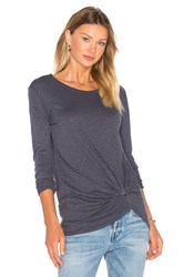 Bobi Slubbed Jersey Long Sleeve Gathered Front Top Slate