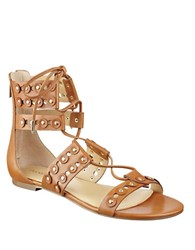 Ivanka Trump Cathy Leather Lace Up Gladiator Sandals Brown