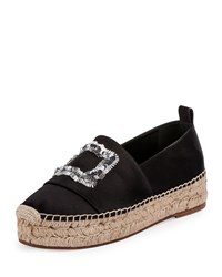 Roger Vivier Sequined Suede Espadrille Flat Black Nero Women's Size 40.0B 10.0B