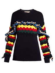 Marni Striped Crochet Ruffle Trimmed Sweater Navy Multi